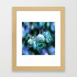 Christmas Bulbs in Blue Framed Art Print