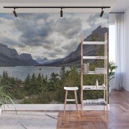 St Mary's Lake and Wild Goose Island Wall Mural