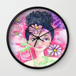Whimiscal Girl with Flowers Wall Clock