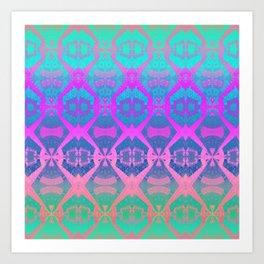 Glowing African Vintage Tribal Pink & Aqua Print Art Print