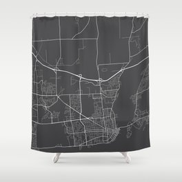 Kingston Map, Canada - Gray Shower Curtain