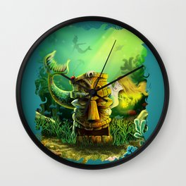 Encounter At The Cove Wall Clock