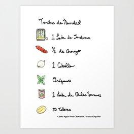 Tortas de Navidad, receta , recipe Art Print