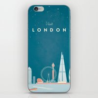 travel poster iPhone & iPod Skins featuring Vintage London Travel Poster by Travel Poster Co.