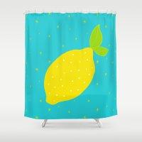 lemon Shower Curtains featuring Lemon  by Ariel Lark