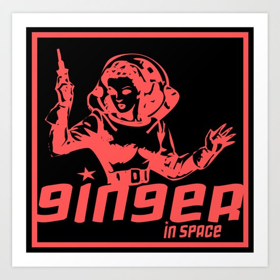 ginger in space Art Print
