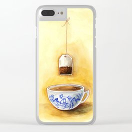 A cup of tea watercolor illustration Clear iPhone Case