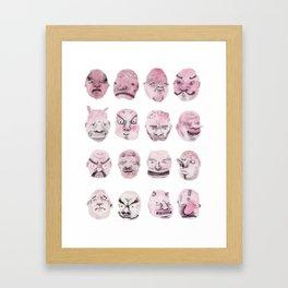 Japanese Noh Masks Framed Art Print