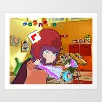 "magneto Art Prints featuring "" Mini Magneto "" by Funki monkey animation studio"