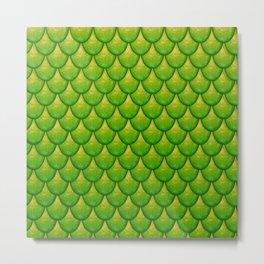 Fish Scales - Green Version Metal Print