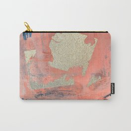 Edge of Reason: a minimal abstract mixed-media piece in pink blue and gold by Alyssa Hamilton Art Carry-All Pouch