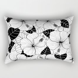 Hibiscus flowers and leaves tropical pattern Rectangular Pillow