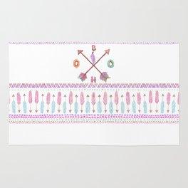 Boho Typogrpahy Tribal Aztec Feather Arrow Pattern Rug