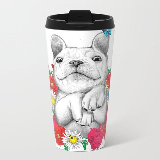 dog in flowers Metal Travel Mug