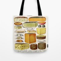 cheese Tote Bags featuring CHEESE by Kathead Tarot/David Rivera