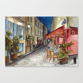 Postcards from Paris - Montmartre by Night: Le Tire-Bouchon Creperie Canvas Print
