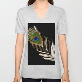 ART DECO PEACOCK FEATHER BLACK ART Unisex V-Neck