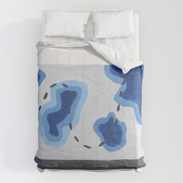 Blue Topography Map Comforters