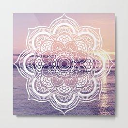 Water Mandala Amethyst & Mauve Metal Print
