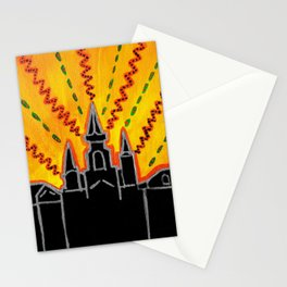 "Sunrise over Jackson Square New Orleans Hand Painted Cityscape 8""x10"" Acrylic Stationery Cards"