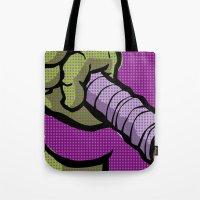 lichtenstein Tote Bags featuring Lichtenstein Pop Martial Art Chelonians | Purple by Butcher Billy