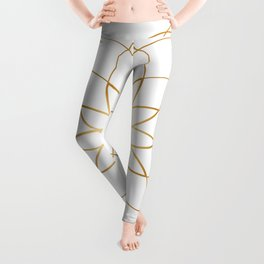 Minimalist Sacred Geometric Circular Flower in Gold and White Leggings