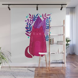 Cat and foliage - pink and purple Wall Mural