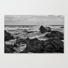 Black & White Seascape - South West Coast of England - Cornwall Canvas Print