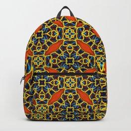 Beautifu Blue and Orange Geometric Beadwork Print Backpack