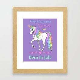 Pretty Rainbow Unicorns Are Born In July Framed Art Print