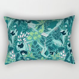 Reading girls among the plants with cats Rectangular Pillow