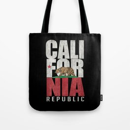 Cali Bear Flag with deep distressed textures Tote Bag