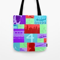 divergent Tote Bags featuring Divergent Collage by Anthony M. Sennett