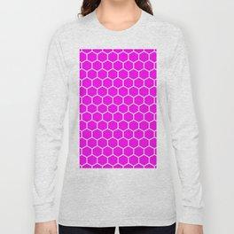 Honeycomb (White & Magenta Pattern) Long Sleeve T-shirt