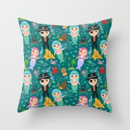 Mermaid with pirate, dark blue sea background Throw Pillow