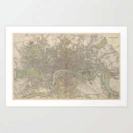 Vintage Map of London England (1843) Art Print