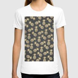 Modern chalk black elegant faux gold pineapple pattern T-shirt