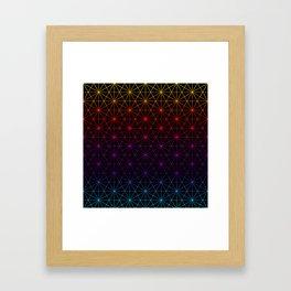 Sacred Geometry Pattern Grid - colorful rainbow Framed Art Print
