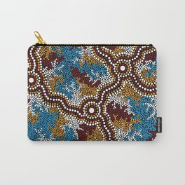 Authentic Aboriginal Art - Wetland Dreaming Carry-All Pouch