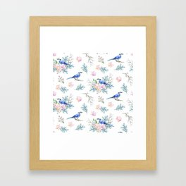Chic Watercolour Blue Jay Spring Flowers Framed Art Print