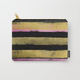 Black Gold Stripes Brushstroke Carry-All Pouch
