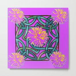 Purple & Aqua Fuchsia Floral Abstract  Art Nouveau Metal Print