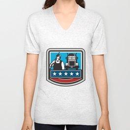 Pressure Washer Worker Truck Crest USA Flag Retro Unisex V-Neck