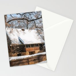 Old Romanian Cottage covered in snow Stationery Cards