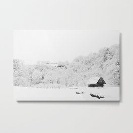 Winter Forest (Black and White) Metal Print