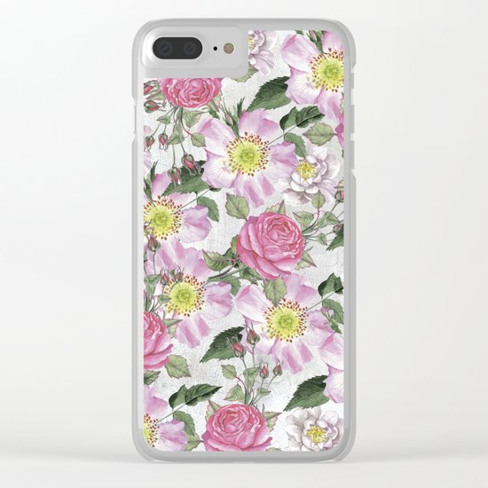 Vintage Rose Pattern Pink and White Clear iPhone Case