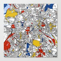 berlin Canvas Prints featuring Berlin  by Mondrian Maps