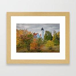 PORT IROQUOIS LIGHTHOUSE AUTUMN PHOTO - MICHIGAN UPPER PENINSULA FALL IMAGE - LANDSCAPE PHOTOGRAPHY Framed Art Print