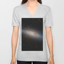 Celestial Sequins Photograph of Spiral Galaxy NGC 4455 - Coma Berenices (Berenice's Hair) Unisex V-Neck