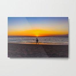 Sunset Beach Walk Metal Print